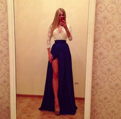 Длинные вечерние платья в пол Черное, белое, синее платье в пол